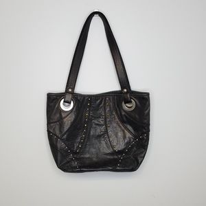 FOSSIL distressed leather metallic studded purse